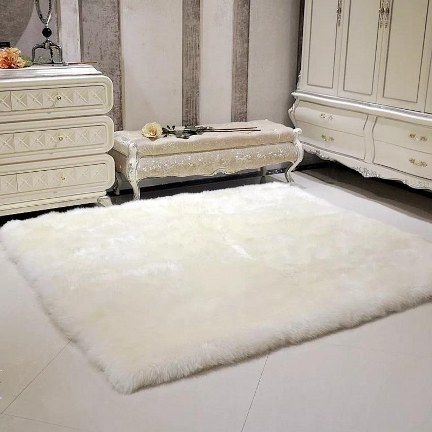 Square real sheepskin rug sheep fur bed slide carpet white shaggy sheep fur sofa seat mat for home decoration