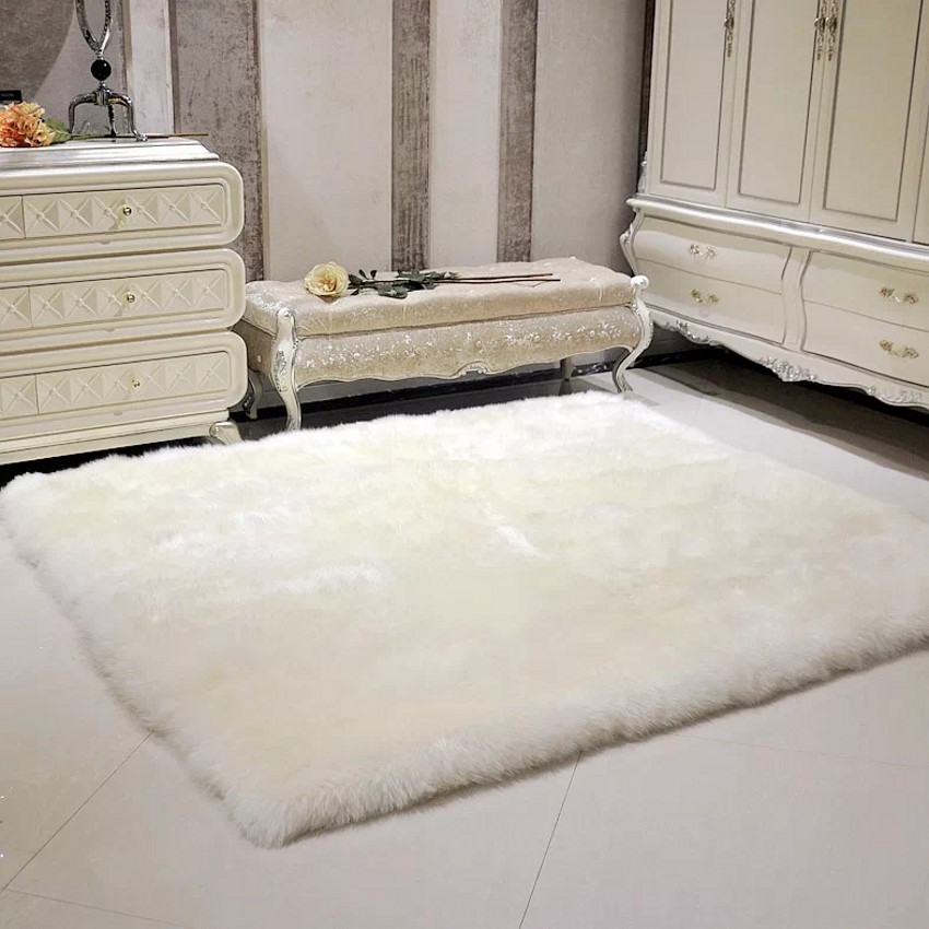 Square Shaped Real Sheepskin Rug For Carpet 100 200cm Sheep Fur Bedside White Gy Decoration Sofa Cushion In From Home