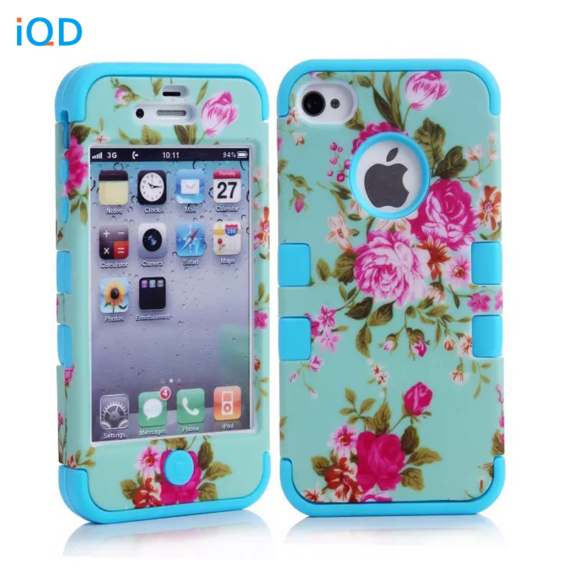 IQD For iPhone4 4S Case Hybrid Armor Chic Peony Flower High Impact Cover Case for iPhone