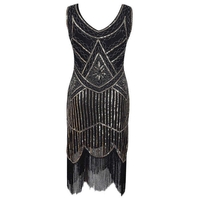 New Women's Summer Dress Vintage Sequin Beaded Tassels O Neck Collar Party Night Hem Flapper Gown Dress in Black and White