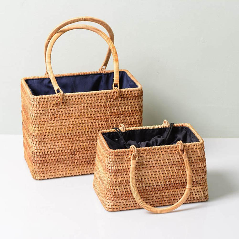 Fashion Women Handmade Handbag Rattan Storage Basket Bamboo Bag Travel Holder Organizer