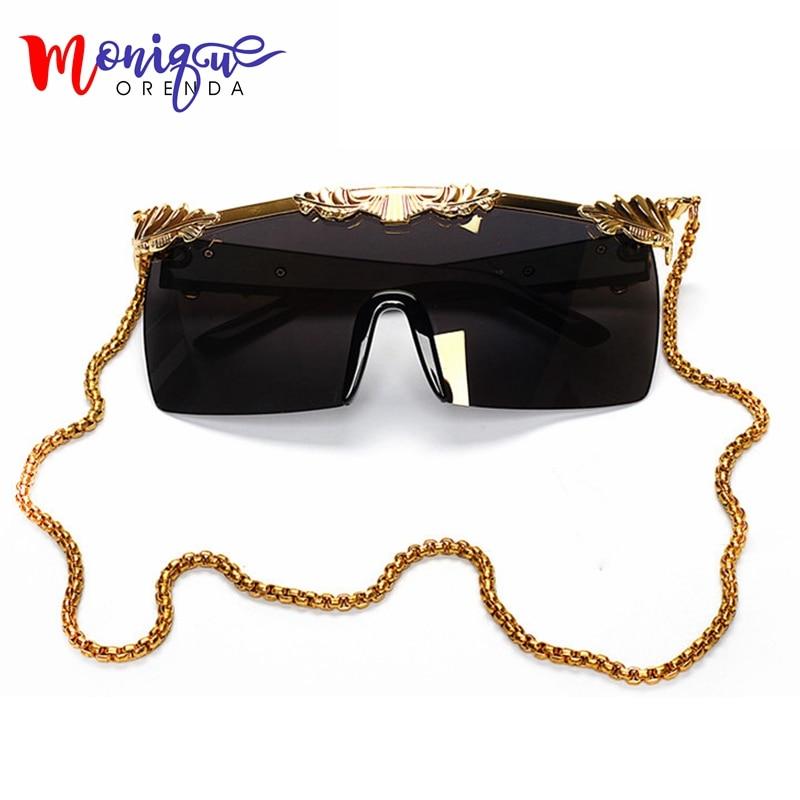 2017 új megérkezett nők napszemüveg márka tervező Steampunk férfi napszemüveg túlméretes napszemüveg arany lánc tér napszemüveg