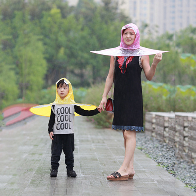 Funny Creative Raincoat Umbrella Headwear Hat Cap Outdoor Fishing Golf  Child Adult Rain Coat Cover Transparent Umbrellas M-XL af4276eed03b