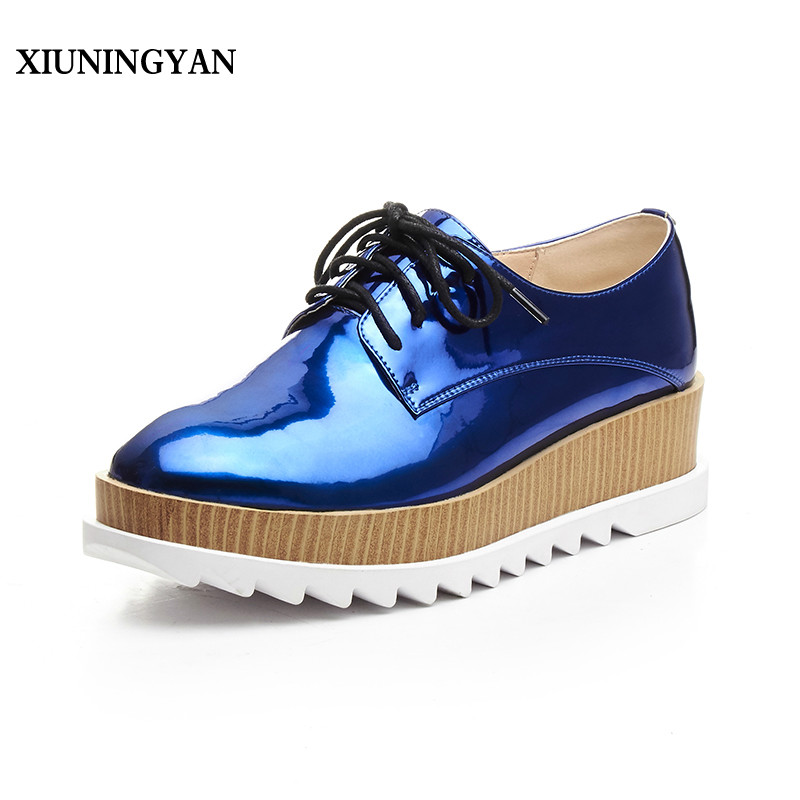 XIUNINGYAN Women Novel Flat Platform Style Oxford Shoes Women Patent Leather Oxfords Flats Heel Casual Shoes Women Shoes Brogues xiuningyan soft leather women shoes brogues lace up flat pointed toe patent leather white oxfords women casual shoes for women