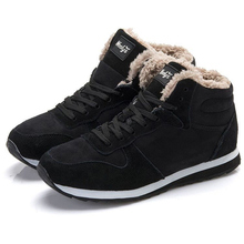 New Men's Casual Shoes Comfortable Sneakers Winter Men Shoes Keep Warm Winter Fur Shoes Hombre Black