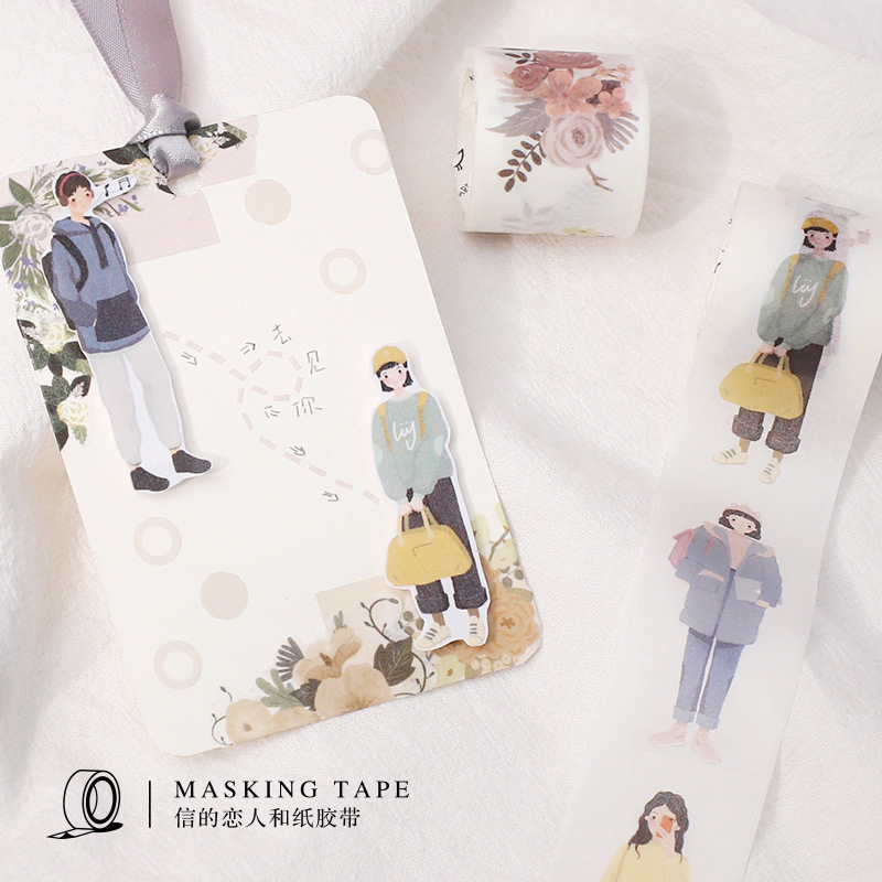 2pcs/set Dating Series Fresh Character Kawaii Boy And Girl Decoration Washi Tape DIY Planner Scrapbooking Sticker Masking Tape