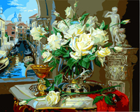 Europe Style Flower Frameless Picture Painting By Numbers DIY Canvas Oil Painting Home Decor For Living