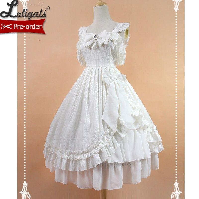 Robe Lolita Empire classique en Jacquard blanc/noir de Soufflesong