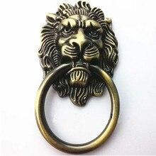 Shaky drop rings vintage lionhead handles bronze / antique brass large meatball drawer kitchen cabinet dresser door pulls knobs
