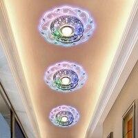 Novo design moderno corredor espelho lâmpada do teto varanda iluminação para baixo superfície de cristal montado luzes teto led