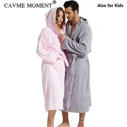 CAVME Plus Größe Mit Kapuze Terry Robe für Liebhaber Handtuch Bademantel männer Lange Baumwolle Roben Lounge Familie Nachthemd Nachtwäsche Nachtwäsche