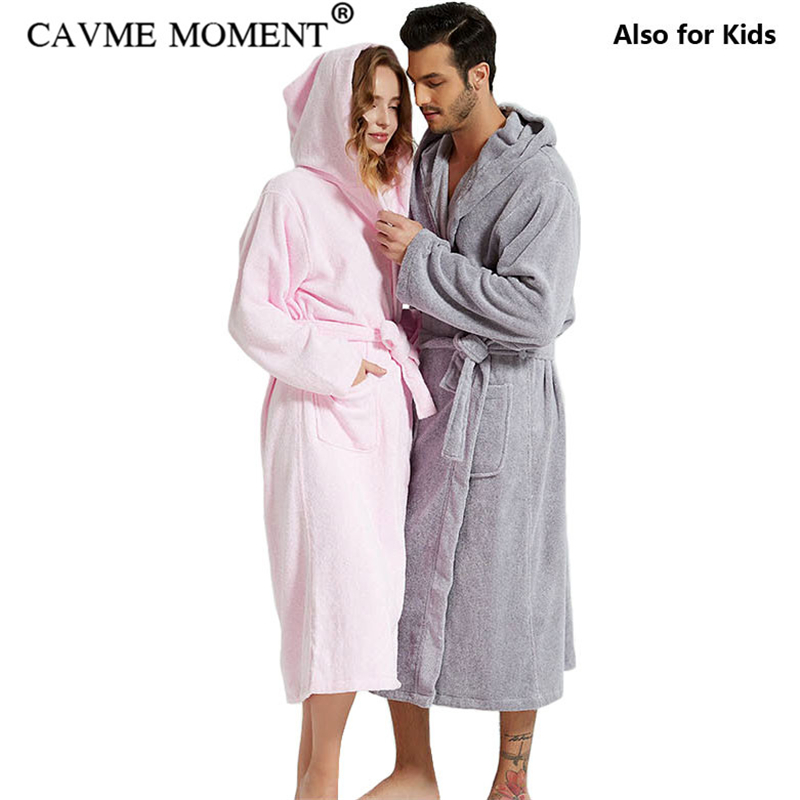 CAVME Plus Size Hooded Terry Robe For Lovers Towel Bathrobe Men's Long Cotton Robes Lounge Family Nightgown Nightwear Sleepwear