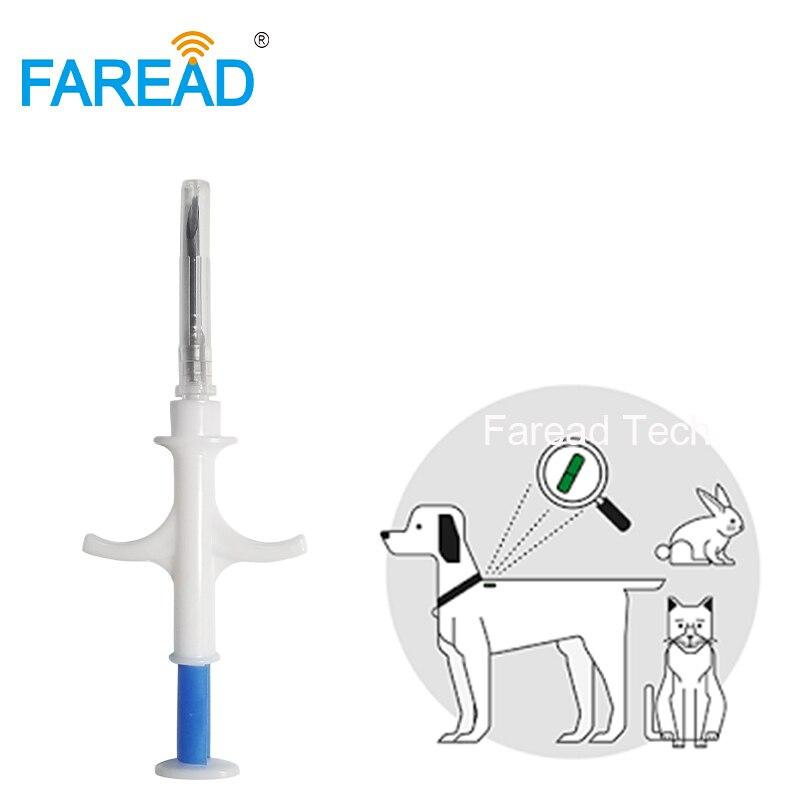 Livraison gratuite 1.4x8mm/2*12mm Bio-Verre tag FDX-B chien puce Animaux implant ISO RFID microchip injecteur vétérinaire seringue pet transpondeur