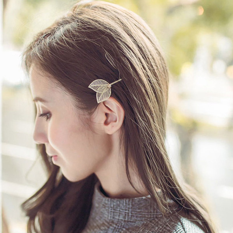 2pcs simple hollow metal double leaf hair clips Lovely Hair Clips Hairpins Hair Accessories Hairgrips for Women Girls in Women 39 s Hair Accessories from Apparel Accessories