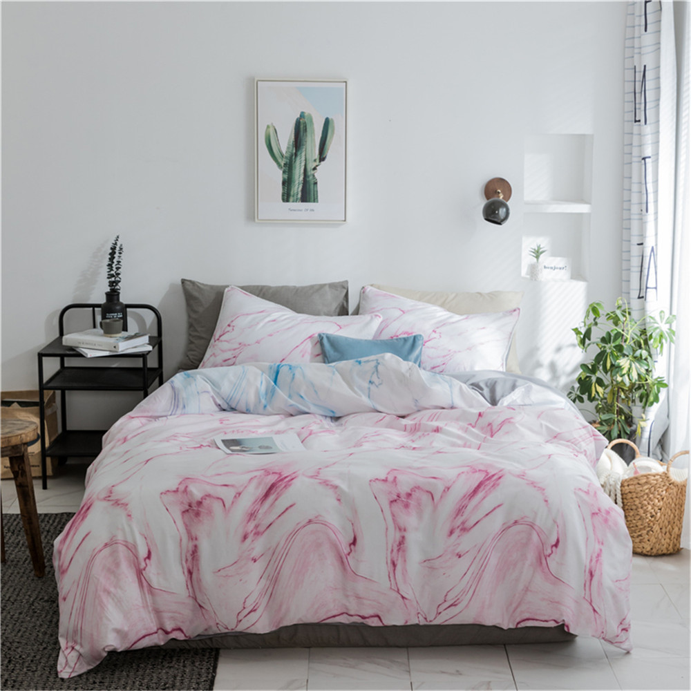 Marble Duvet Cover Set Queen Size Nature Granite Pattern with Cloudy Spotted Trace Effects Marble Artistic Mens Bedding King