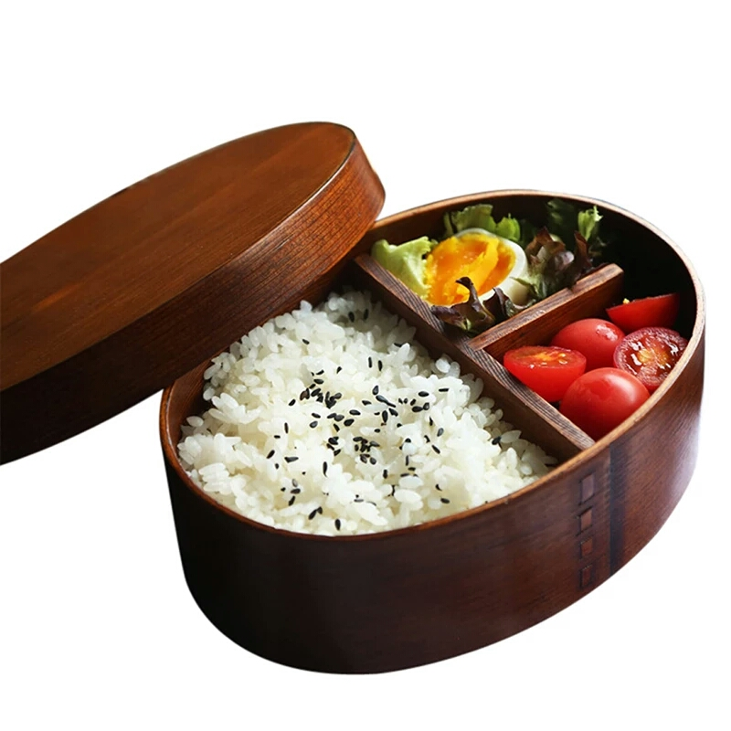 Japanese Bento Sushi Box Eco-friendly Wooden Bento Lunch Boxes Food Container with 3 Compartments Small Portable Oval Lunchbox for Kids Picnic Tableware (10)