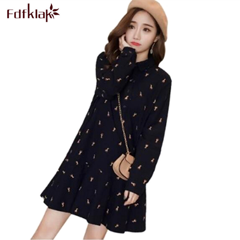 Fdfklak Floral Print Maternity Clothes Long Sleeve Spring Summer Maternity Dresses Large Size Pregnancy Dress Pregnant Women