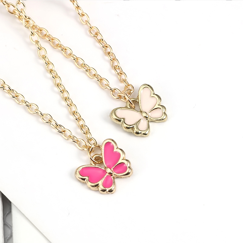 Kawaii Cartoon Insect Necklace For Women Girls Colorful Butterfly Pendant Necklaces Charm Clavicle Gold Chain Alloy Jewelry 2019 in Pendant Necklaces from Jewelry Accessories