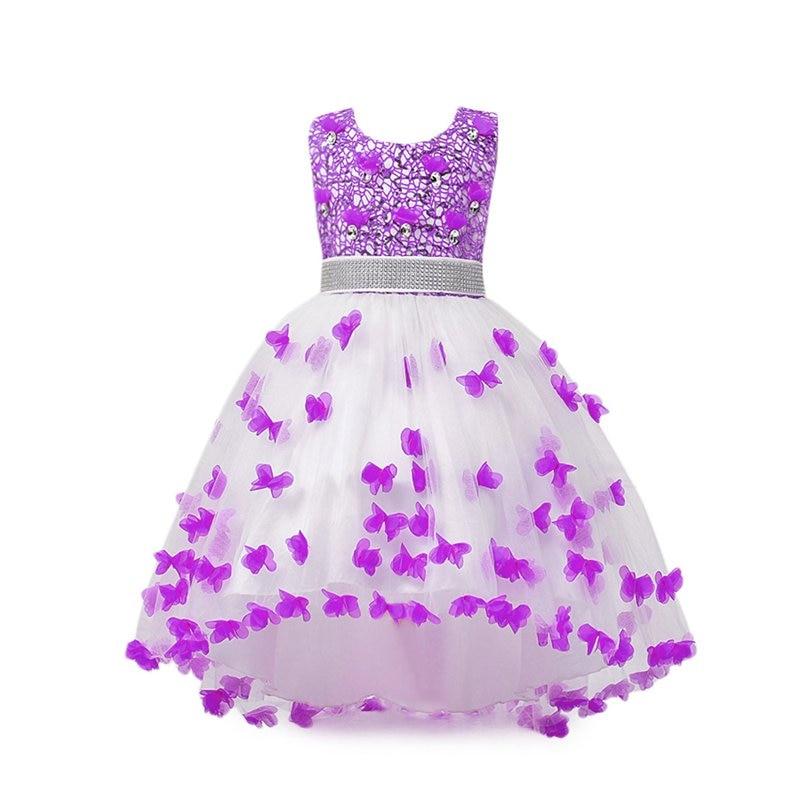 где купить VOGUEON Girls Wedding Dress Summer Sleeveless Sequined Princess Party Wear Children Butterfly Applique Layer Evening Dance Dress дешево