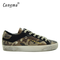 CANGMA Fashion Camouflage Shoes Men Genuine Leather Handmade Casual Super Star Shoes 2017 Vintage Shoes Man