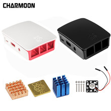 Para Raspberry Pi caso Oficial 3 gabinete ABS caixa 2 shell a partir do Raspberry Pi Raspberry pi Foundation + Cooling fã(China)
