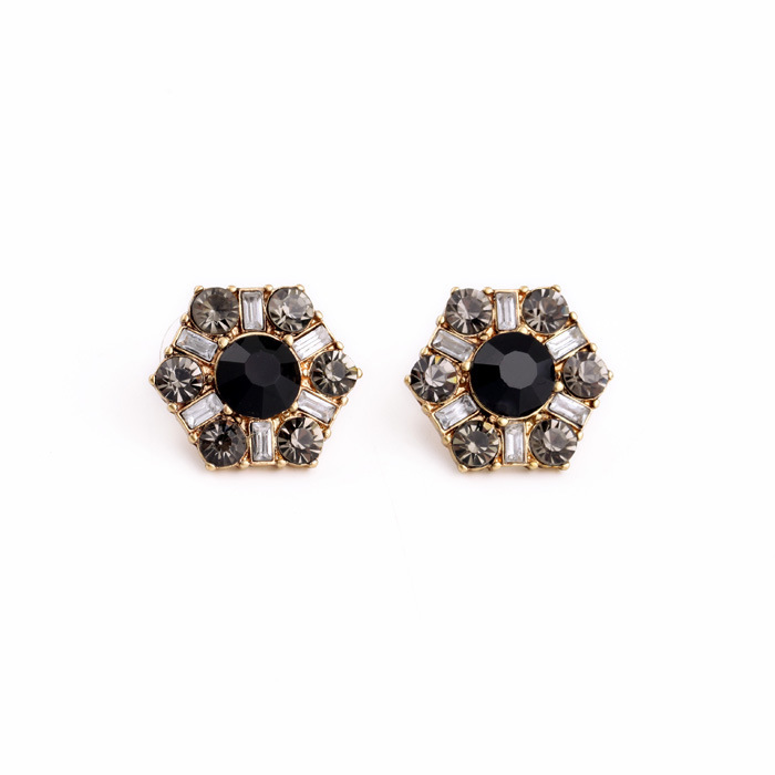 Inspired Classic Black Resin Stone and Rhinestone Statement Deco Fanfare Stud Earrings for Women Lady Everyday Earrings