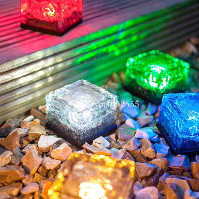 6 colors High Quality Solar Powered LED Lamp Garden Ground Light Path Ice Brick Road Yard Light Outdoor HM201