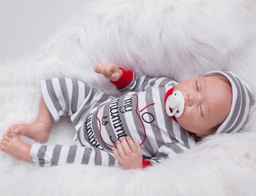 SHINEHENG 2016 New 50cm Sleeping Baby Nipple In Month Reborn Doll Soft Vinyl Realistic Children Playmate Bonecas Brinquedos