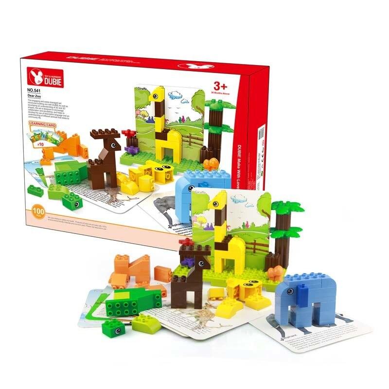 Wange Big Size Dear Zoo Set 100pcs Bricks+10 Card DIY Creative Building Blocks Educational Kids Toys Baby Gifts NO.540