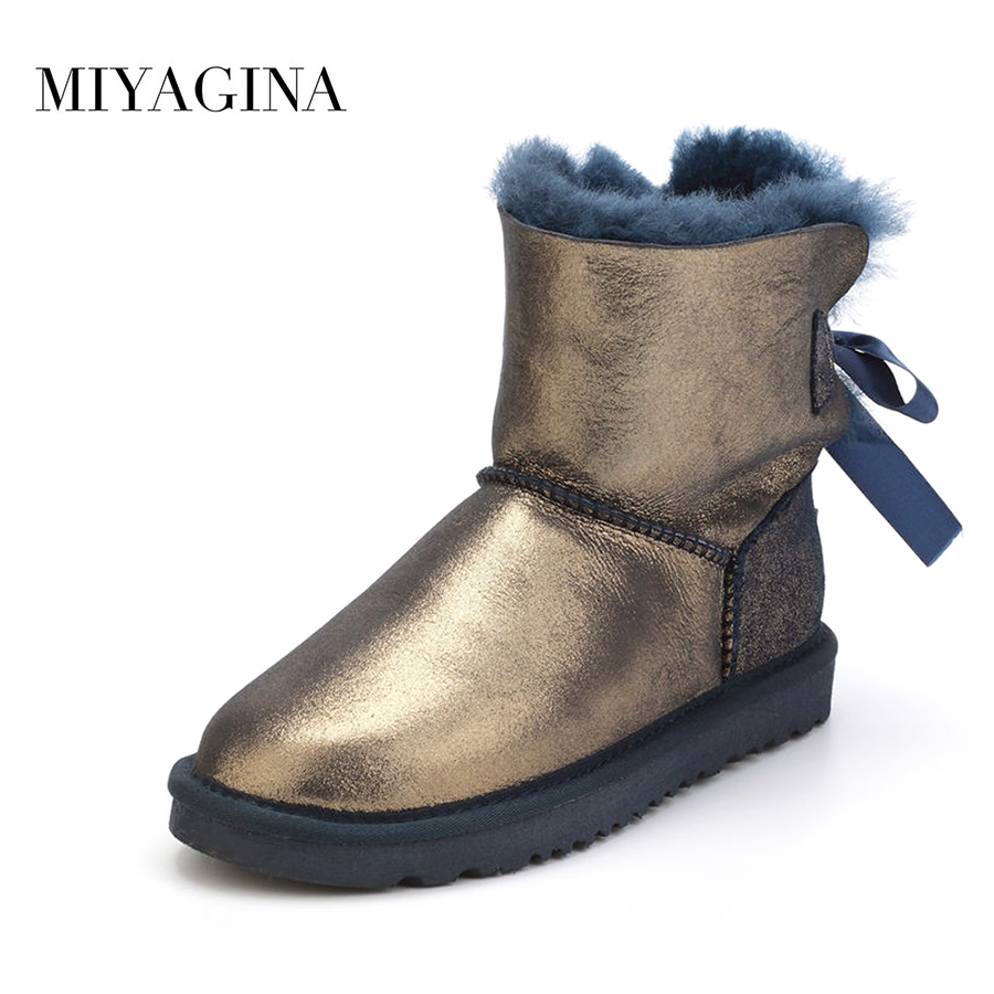 Top New Fashion Genuine Sheepskin Leather Snow Boots Winter Natural Fur Waterproof Shoes for Women Real Wool Mujer Botas