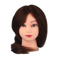 100% Brown Real Hair Salon Doll Heads 22'' Mannequin Mannequin Women Durable