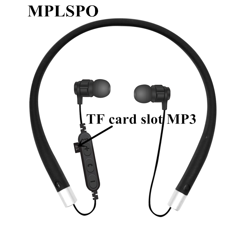 MPLSBO MST11 Neckband Bluetooth Earphone TF card slot MP3 Sport Bass Wireless Headset with Mic Water Resistant Earbuds for phone