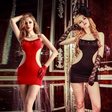JSY polyester stretch clubwear dress  gloves thong waist hollow out lace pattern type solid dance dress for bar club 9963