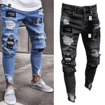 Pantalones Vaqueros Rasgados De Algodon Para Hombre Pantalon Vaquero Deshilachado Con Cremallera Estilo Anos 80 Pantalones Ajustados Aliexpress