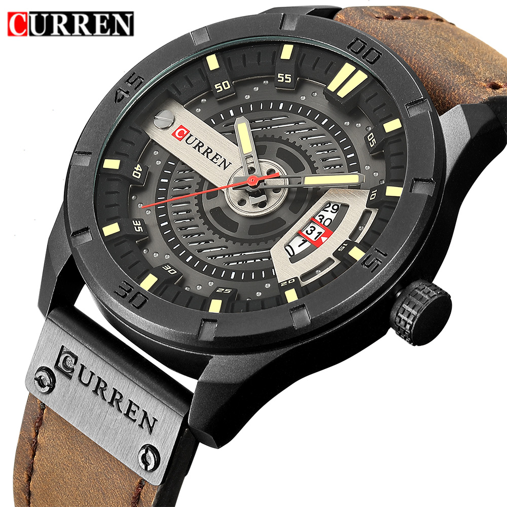 2018 Luxury Brand CURREN Men Military Sports Watches Men's Quartz Date Clock Man Casual Leather Wrist Watch Relogio Masculino sunward relogio masculino saat clock women men retro design leather band analog alloy quartz wrist watches horloge2017