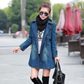 2016 New Autumn & winter clothes new casual denim jacket Slim was thin Girls Long double-breasted denim coat