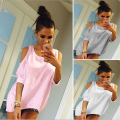 Women Tops Round Neck 3/4 Sleeve Off Shoulder Summer Shirt Women Irregular Hem Casual Tee Shirt Femme