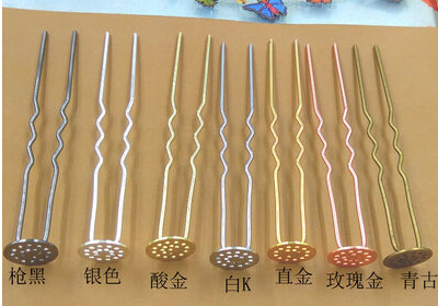 20pcs/lot 12x75mm U hair clip bobby pin silver/gold/bronze/gun black/rose gold/white k –color option