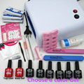Nail Art Manicure Tools 36W UV Lamp + 6 Color 10ml soak off Gel nail base gel top coat polish with Remover Practice set File kit