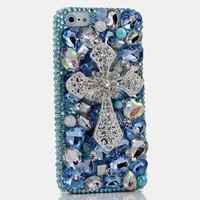 3D Bling Shiny Girl Lady Style Handmad DIY Silver Cross Crystal Diamond Flip Leather Phone Case