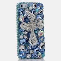 3D Bling Shiny Girl Lady Style Handmad DIY Silver Cross Crystal Diamond Flip Leather Phone Case