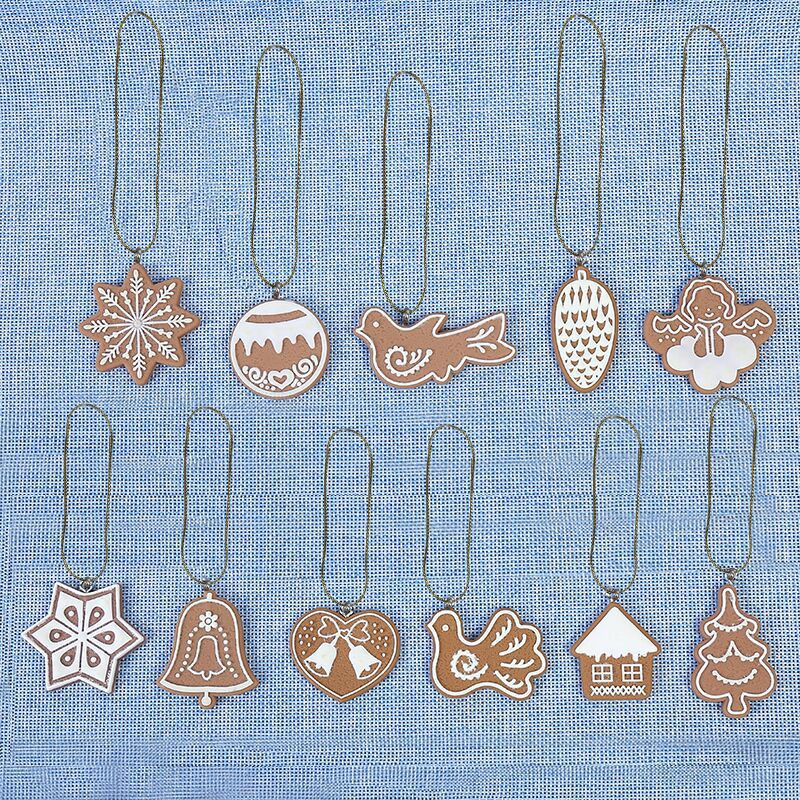 11pcs DIY Christmas Tree Hanging  Snowflakes&Deer&Tree Ornaments tree Decorations soft ceramic