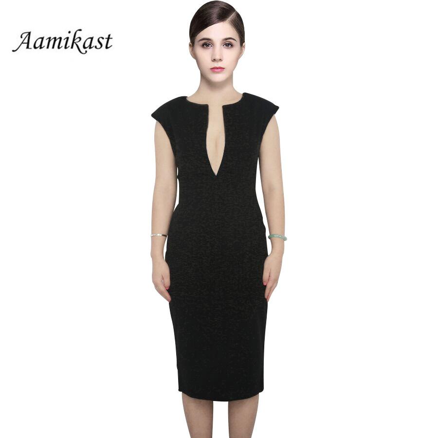 Elegantna obleka brez rokavov z izrezom do kolen Temperament Charm - Ženska oblačila