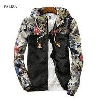 FALIZA New Floral Bomber Jacket Men Hip Hop Flowers Designs Slim Fit Pilot Bomber Jacket Coat