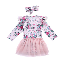 Baby Girl Romper Long Sleeve Flower Cute Tutu Ruffles Jumpsuit Clothing Outfits Cotton Newborn Infant Girls Clothes 0-18M