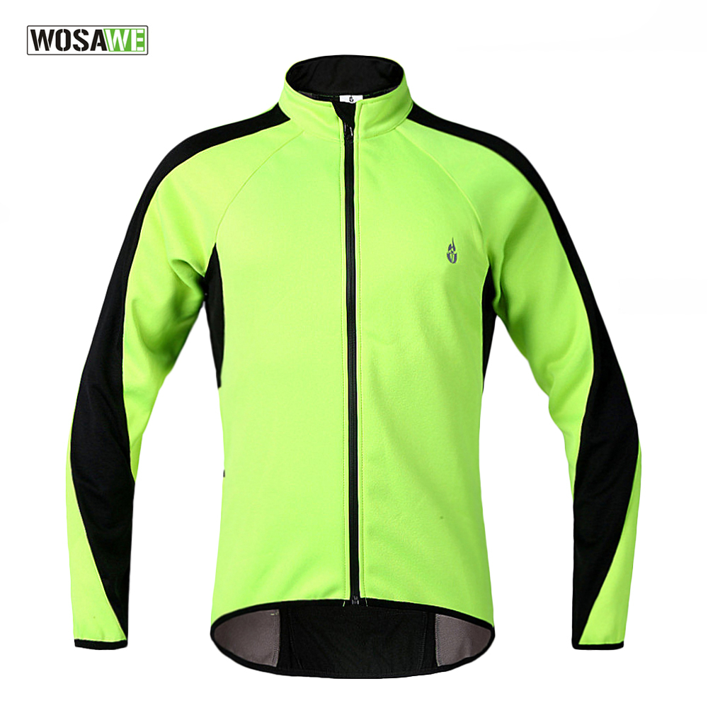 WOSAWE Fleece Thermal Cycling Long Sleeve Jersey Winter roupas de ciclismo Jacket  Windproof Wind Coat Bicycle  Wear Clothing black thermal fleece cycling clothing winter fleece long adequate quality cycling jersey bicycle clothing cc5081