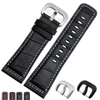 e8779a9c56d2 28mm Watch Band Strap Genuine Leather High Quality Black Brown Men  Watchbands Belt Stainless Steel Silver