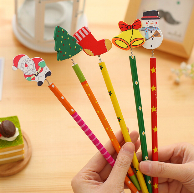 6PCS/lot Christmas Wooden Pencils Novelty Cartoon Stationery Wood Pencils Office school children pencils Merry Christmas Gifts
