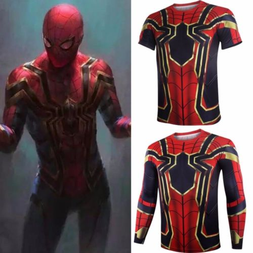 Avengers Infinity War Iron Spider Short long tshirt outfit halloween Spiderman Superhero men Cosplay Costume