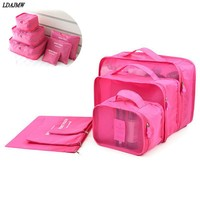 HOT 6pcs Set Travel Organizer Storage Bag Box Tidy Luggage Suitcase Pouch Zip Cases Clothes